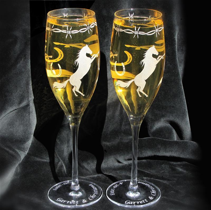 cowboy wedding champagne flutes fine crystal bradgoodell