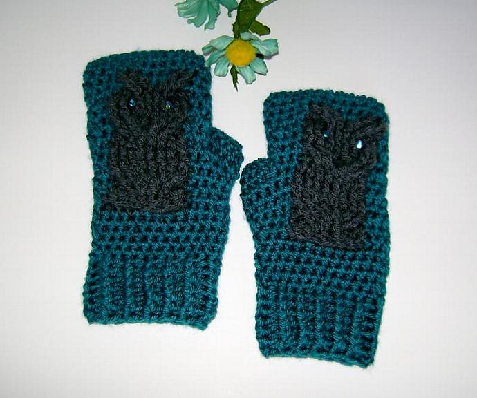 Teal and Grey Owl Crocheted Fingerless Gloves, Mitts, Mittens, Wristwarmers