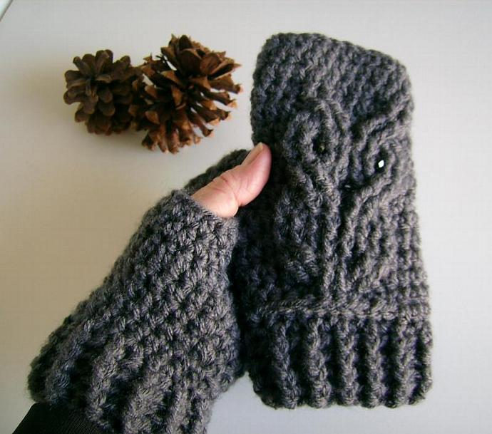 Owl Crocheted Fingerless Gloves, Mitts, Mittens, Wristwarmers
