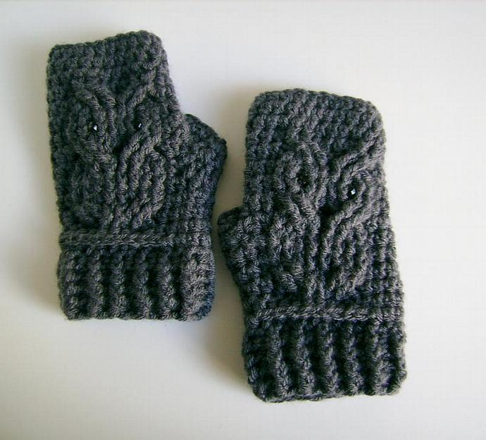 Owl Crocheted Fingerless Gloves, Mitts, Mittens, Wristwarmers