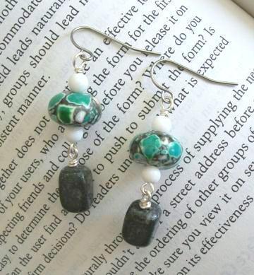 Handmade Snow Jade, Black Onyx Agate and Green Mosiac Turquoise Dangle Gemstone