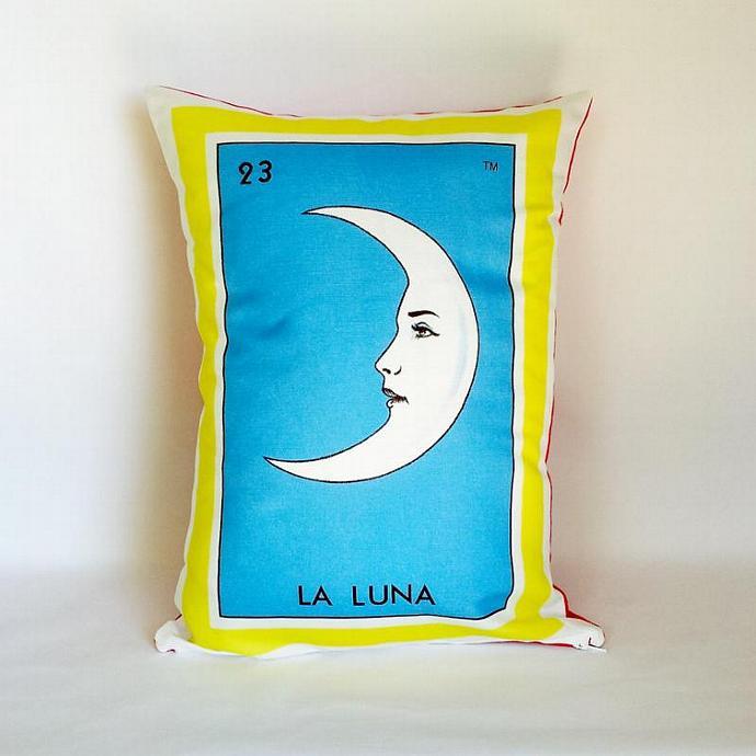La Luna (Moon) Loteria Pillow Cover with Zipper - Linen Cotton Canvas - Mexico