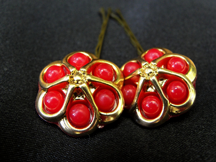 Red and Gold Button Hairpins