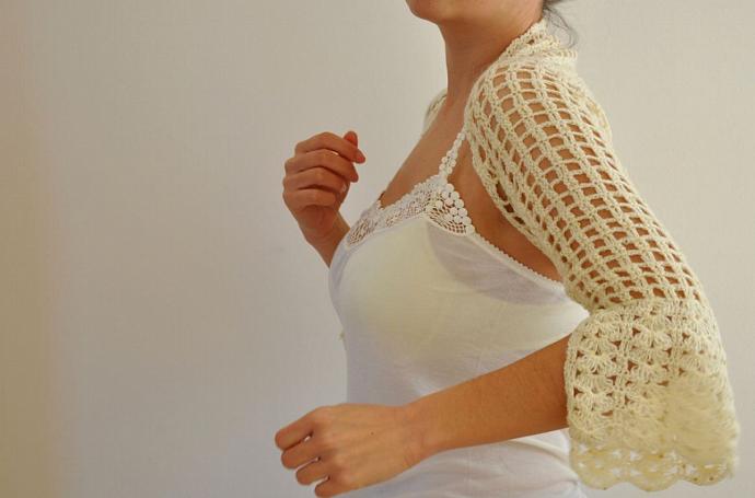 Ivory Gorgeous Mohair Shrug / Bolero -Bridal Shrug