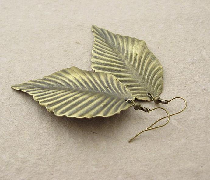 Bronze Leaf earrings: bold, lightweight, & earthy