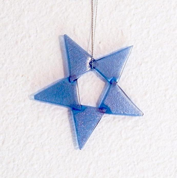 Handmade Glass Star Christmas Ornament, Light Blue Iridescent Art Glass