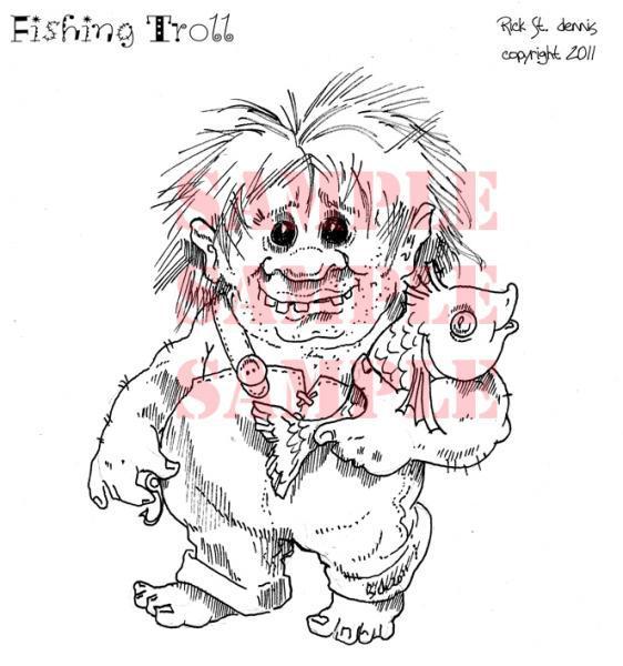 Fishing Troll digi stamp