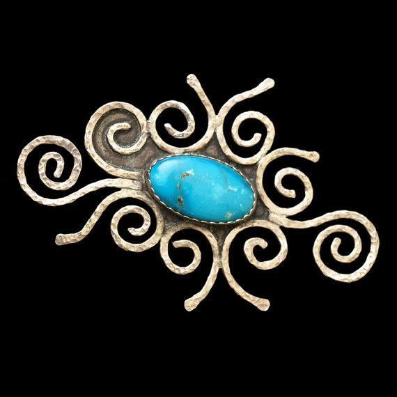 Turquoise Scroll   pendant/brooch