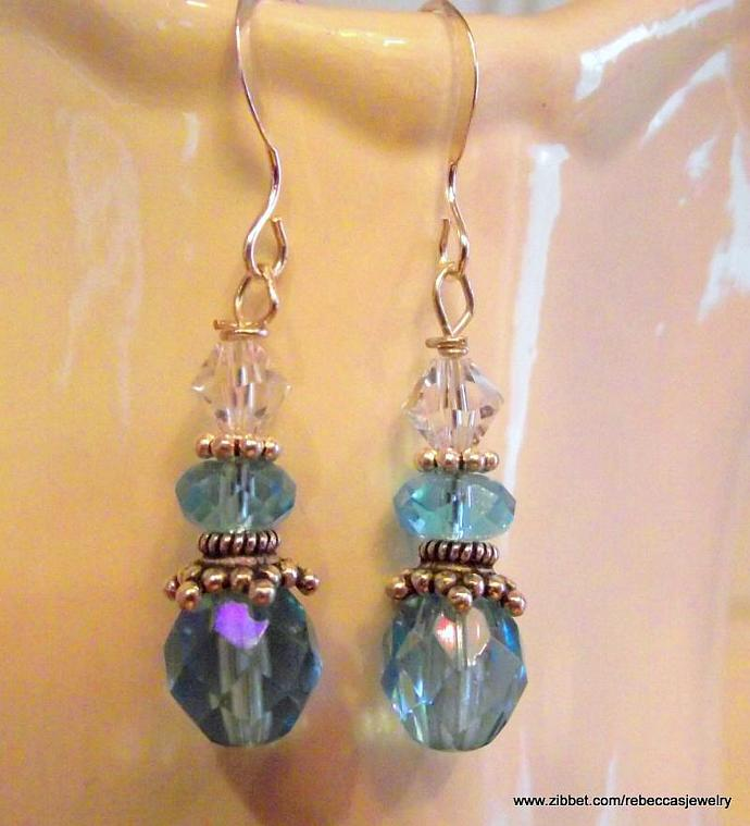 Oh Those Baby Blues ~ Earrings with Blue Crystals and Bali Silver