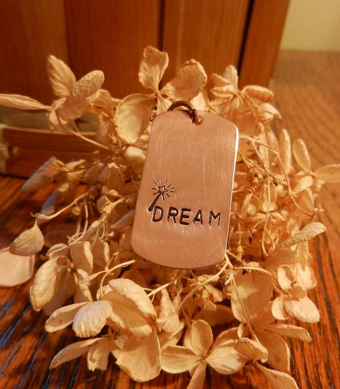 "Copper Dog Tag ""DREAM"" Pendant - Hand Stamped"