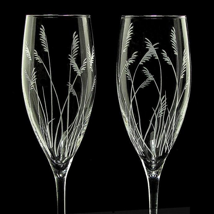 Sea Grass Wedding Flutes Fine Crystal Bradgoodell