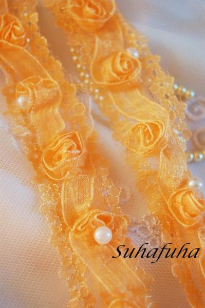 PEACH Chiffon Rose Trim On Net-1 yard - Exclusively by Suhafuha