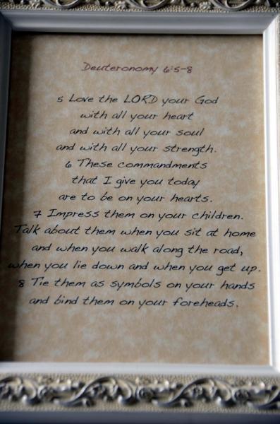 6x8 framed Deuteronomy 6:5-8 bible passage
