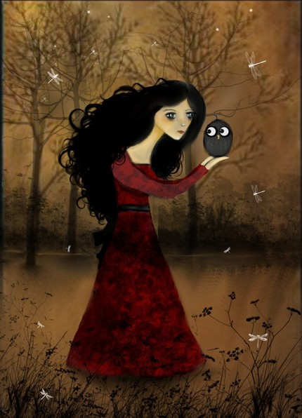 Whimiscal  Art Print - Girl and Owl