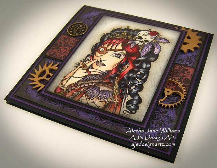 Steampunk Gothic OOAK Handmade Art Greeting Card Big Eye Art