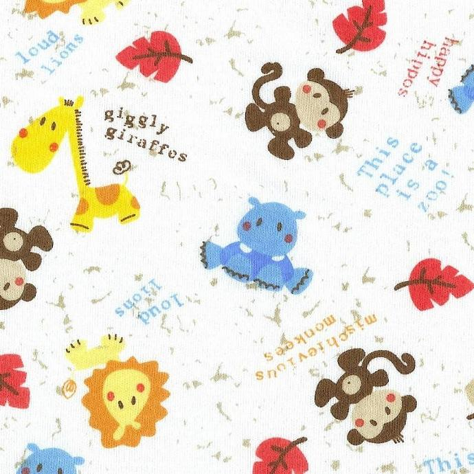 LIL ZOO ANIMALS, Cotton Interlock Knit Fabric, by the yard