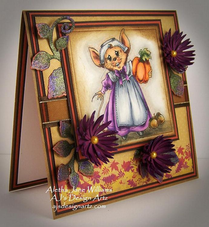 A Thanksgiving Hello OOAK Handmade Fall Autumn Greeting Art Card
