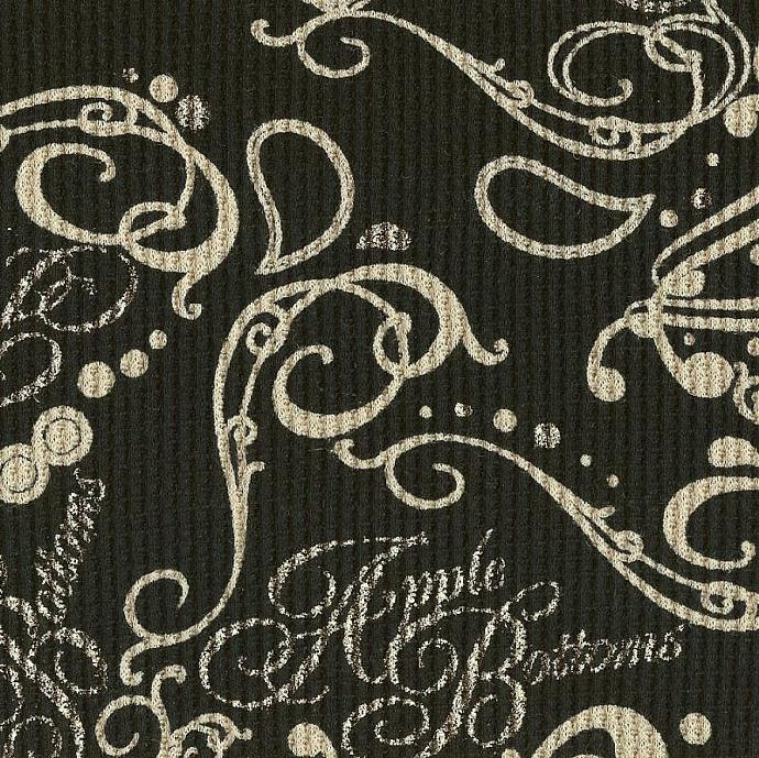 FLOURISH PAISLEY ON BLACK, Cotton Thermal Waffle Knit Fabric, by the yard