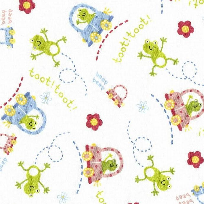 LIL FROGS and CARS on White, Cotton Interlock Knit Fabric, by the Yard 36x58