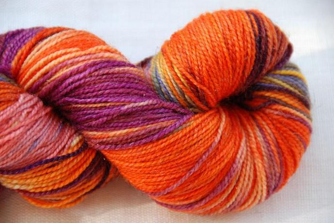 handdyed Yarn, 100g/ 3,5oz , colour orange etc.