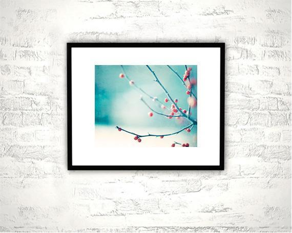 Winter, Christmas Photography - 8x10 Berries, Nature Print - Aqua Blue Red Berry