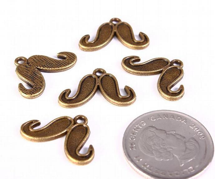 5 Mustache charm pendant antique brass antique bronze 15mm x 22mm (1250)