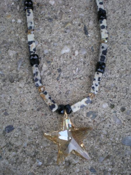 Jasper and Swarovski star necklace