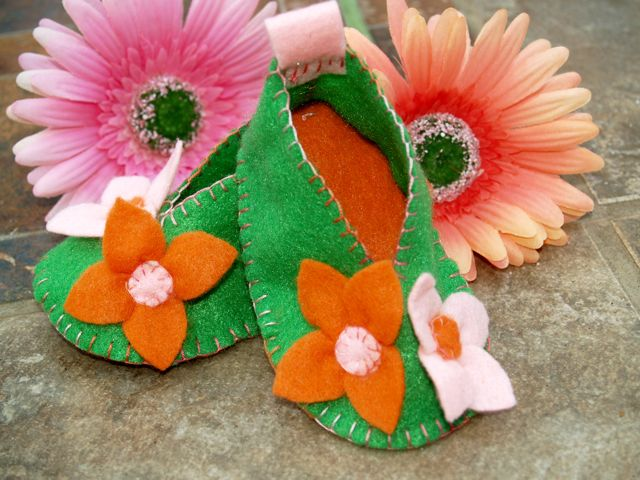 Floral Felt Booties Handmade Pink Orange Green Inf