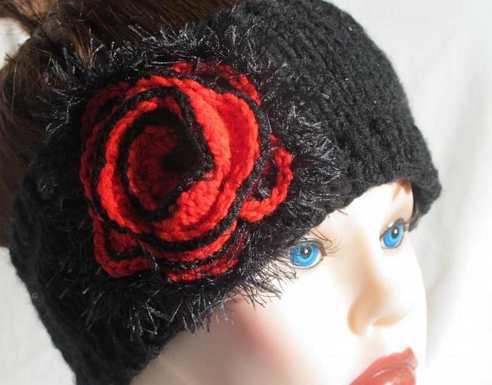 Midnight Black wide Headband/ Headwrap/ Earwarmer / Red - Black Flower (or