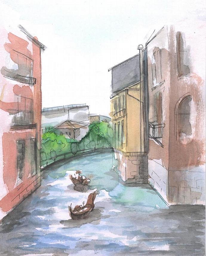 Watercolor painting. Urban sketch. River. Venice. Gondola. Original. 8x10