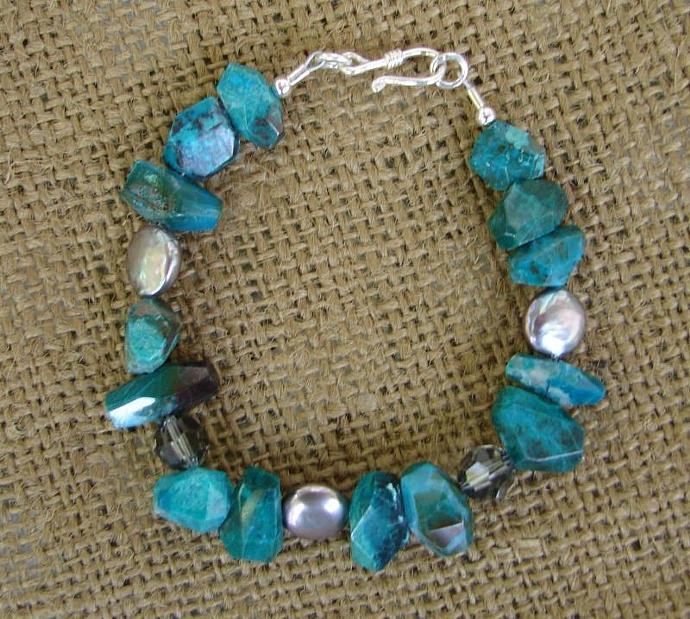 Silver Pearl Swarovski Crystal and Chrysocolla Bracelet
