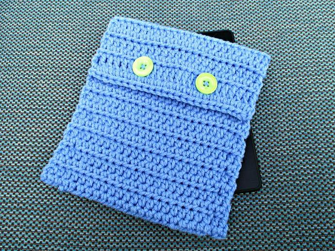 Periwinkle Kindle Cover with Neon Green Buttons