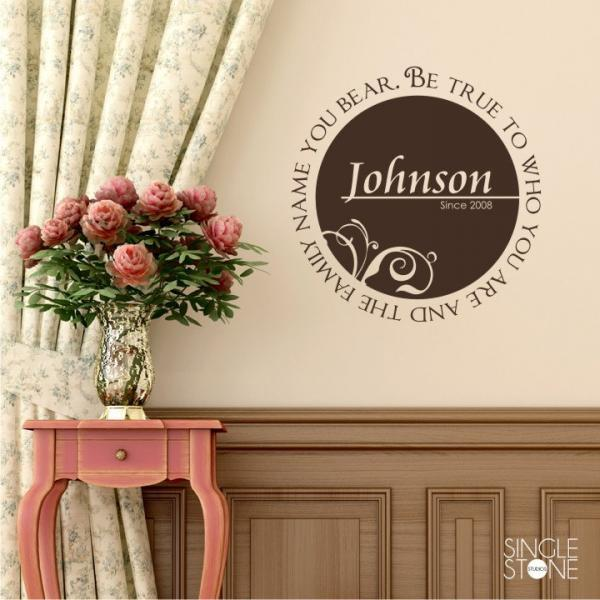 Monogram Wall Decal Family Name Personalized  Be True