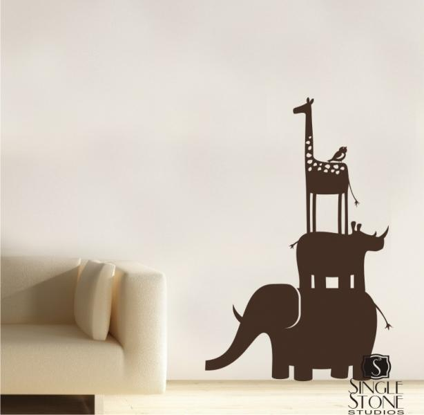 Kids Wall Decals Animal Safari Stack - Vinyl Wall Art