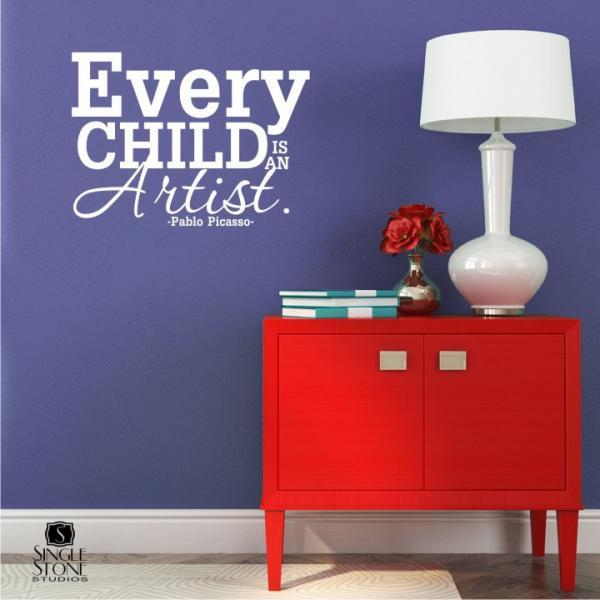 Every Child Is An Artist - Picasso - Vinyl Wall Art