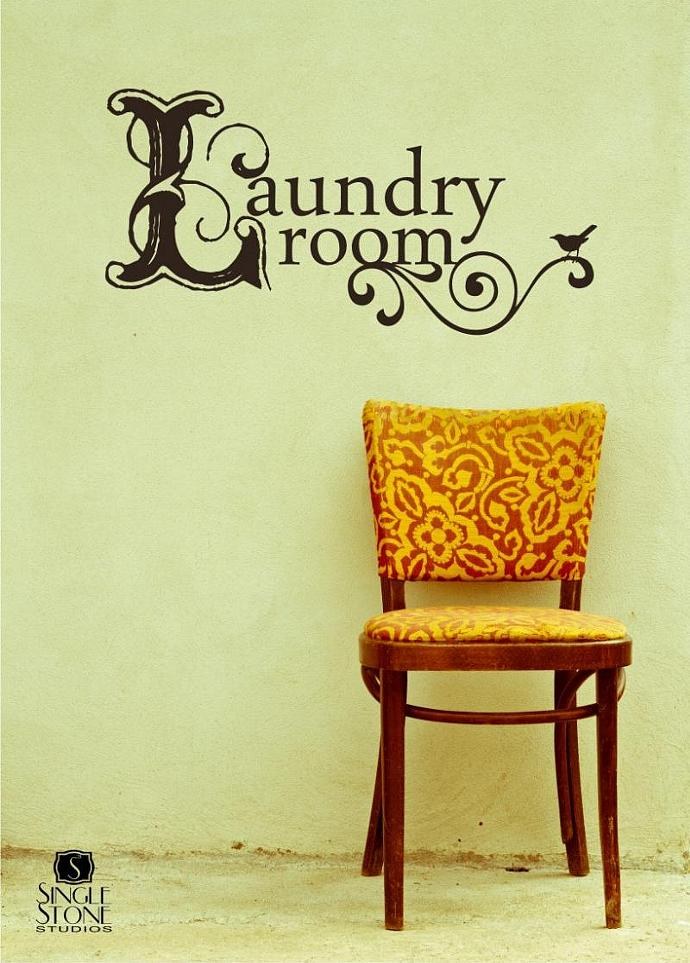 Laundry Room Wall Decal Vintage Style - Vinyl Text Wall Words Sticker