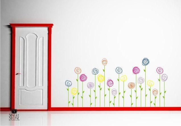 Wall Decals Doodle Flower Garden (Set of 10) - Vinyl Wall Stickers Art