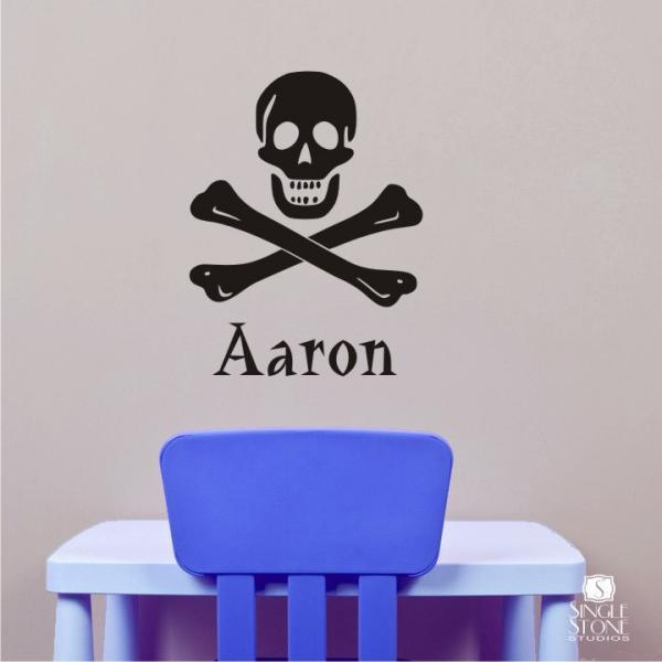 Pirate Wall Decals Skull and Crossbones - Personalized Name Vinyl Wall Stickers