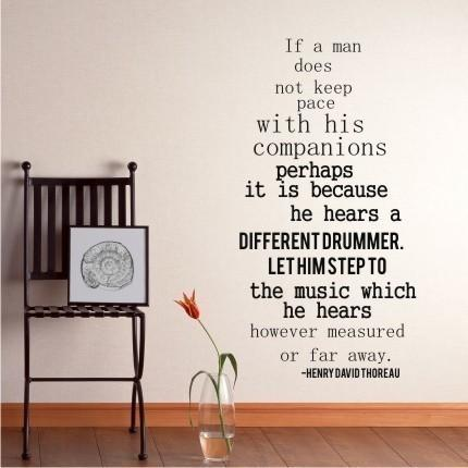 Wall Decal Quote Different Drummer by Henry David Thoreau - Vinyl Lettering Text
