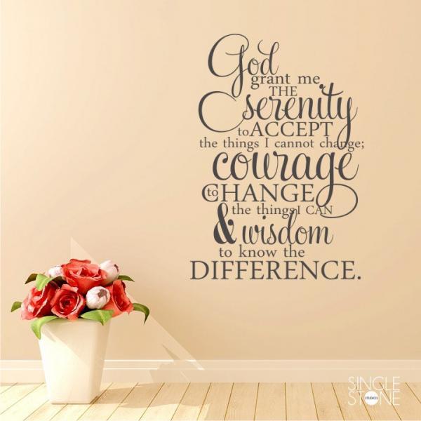 Serenity Prayer Wall Decal Quote  - Vinyl Word Art
