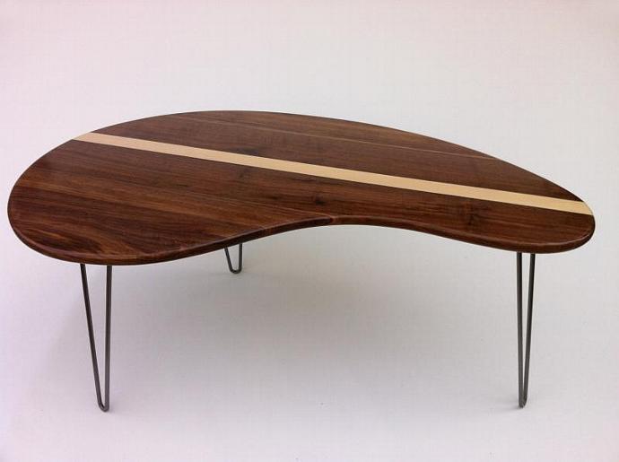 Mid Century Modern Coffee Table - Solid Walnut with Maple Inlay- Kidney Bean - Mid Century Modern Coffee Table - Solid Walnut By Studio1212 On Zibbet