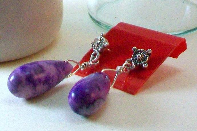 Teardrop African Amethyst and Sterling Silver Earrings
