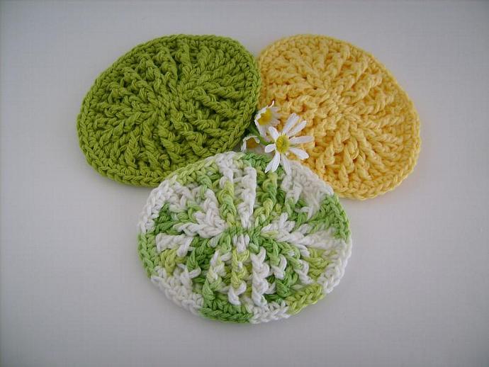Ombre Greens Custom Crochet Soap Dish, Soap Mat Set of Three