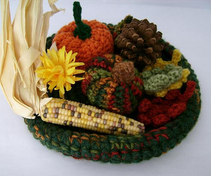 Fall Harvest Green Crocheted Decor Tabletop Bowl for Autumn Home Decoration