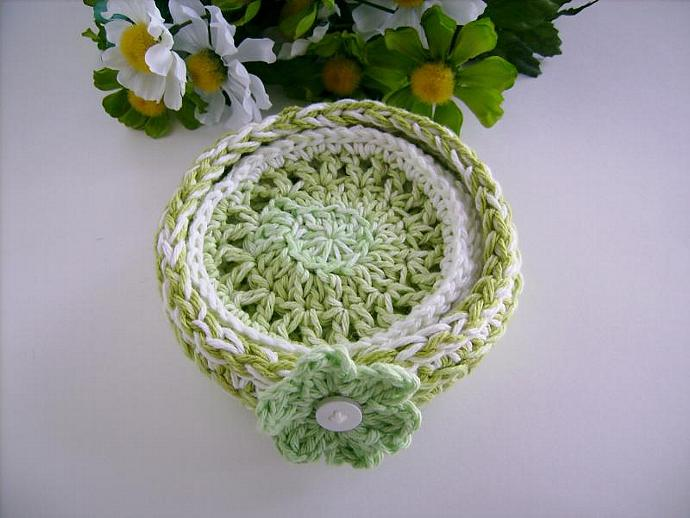 Custom Crochet Coaster Set with Bowl in Lime Green