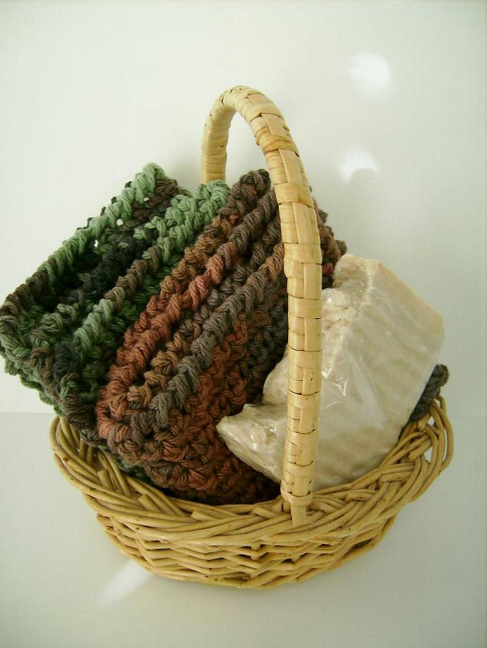 Washcloth Set, Custom Crocheted in Green and Brown