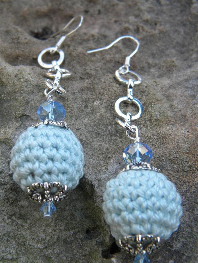 Wedgewood Blue Crochet  Earrings