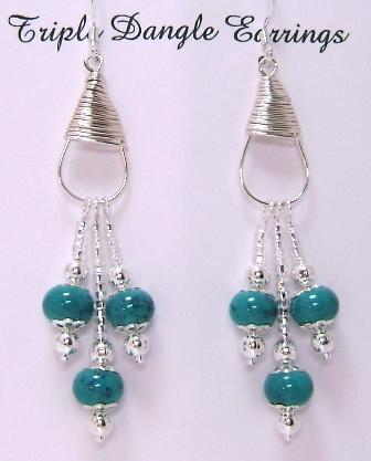 Handcrafted Triple Drop Dangle Earrings, Teal and Silver