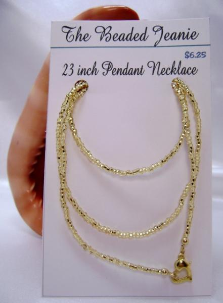 23 Inch Gemstone Pendant Necklace - Straw Gold Seed