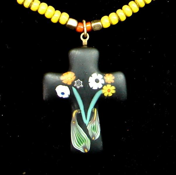 Venetian Glass Cross Necklace Citrine Yellow African Trade Beads Necklace